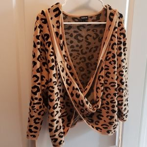 Torrid Cheetah Print Crop Wrap Around Sweater